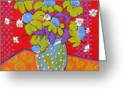 Expressionist Greeting Cards - Green Daisy Bouquet Greeting Card by Blenda Tyvoll