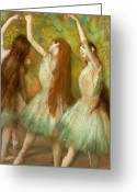 Rehearsal Greeting Cards - Green Dancers Greeting Card by Edgar Degas