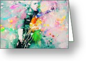 Celebrities Painting Greeting Cards - Green Day  Greeting Card by Rosalina Atanasova