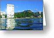 Diamond Head Greeting Cards - Green Diamond Head from the water Greeting Card by Erika Swartzkopf