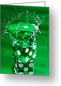 Game Greeting Cards - Green Dice Splash Greeting Card by Steve Gadomski