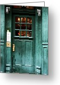 New York New York Com Greeting Cards - Green Door in the Village Greeting Card by John Rizzuto