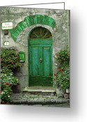 Cobblestones Greeting Cards - Green Door Greeting Card by Karen Lewis