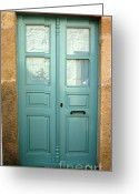 Door Greeting Cards - Green Door of Greece Greeting Card by Therese Alcorn