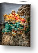 Sea Digital Art Greeting Cards - Green Dragon  Greeting Card by Adrian Evans