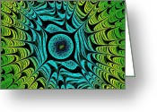 Fairy Mixed Media Greeting Cards - Green Dragon Eye Greeting Card by Anastasiya Malakhova