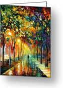 Afremov Greeting Cards - Green Dreams Greeting Card by Leonid Afremov