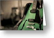 Arts Culture And Entertainment Greeting Cards - Green Electric Guitar With Blurry Background Greeting Card by Sean Molin - www.seanmolin.com