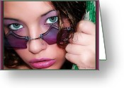 Bruster Greeting Cards - Green Eyed Girl Greeting Card by Clayton Bruster