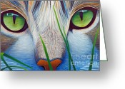 Cat Painting Greeting Cards - Green Eyes Greeting Card by Brian  Commerford