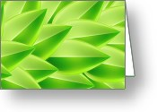 Creativity Digital Art Greeting Cards - Green Feathers, Full Frame Greeting Card by Ralf Hiemisch
