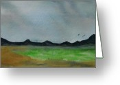 Green Field Painting Greeting Cards - Green fields Greeting Card by Liz Vernand