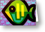 Giclees Greeting Cards - Green Fish Greeting Card by John  Nolan