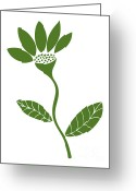 Gardening Drawings Greeting Cards - Green Flower Greeting Card by Frank Tschakert