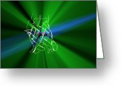 Green Tag Greeting Cards - Green Fluorescent Protein Greeting Card by Phantatomix