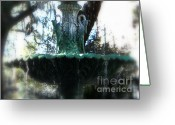 Savannah Square Greeting Cards - Green Fountain Greeting Card by Carol Groenen