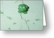 Toys Greeting Cards - Green frog Greeting Card by Bernard Jaubert