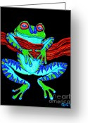 Amphibians Greeting Cards - Green Frog Hanging On Greeting Card by Nick Gustafson