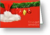 Shimmer Greeting Cards - Green garland with santa hat and ornaments Greeting Card by Sandra Cunningham