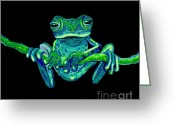 Vines Mixed Media Greeting Cards - Green Ghost Frog Greeting Card by Nick Gustafson