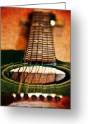 Guitar Mixed Media Greeting Cards - Green Gibson Greeting Card by Angelina Vick