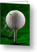 Splash Greeting Cards - Green Golf Ball Splash Greeting Card by Steve Gadomski