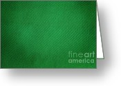 Linen Greeting Cards - Green Grunge Textile Greeting Card by Henrik Lehnerer
