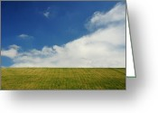 Kansas City Missouri Greeting Cards - Green Hills And Blue Skies Greeting Card by Heather Black