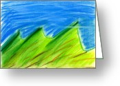 Expressive Pastels Greeting Cards - Green HIlls Greeting Card by Hakon Soreide