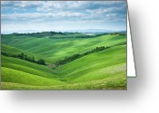 Crete Greeting Cards - Green Hills With Cloudy Sky Greeting Card by Thierry Hennet
