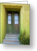 Entrance Door Greeting Cards - Green house Greeting Card by Gabriela Insuratelu