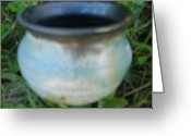 Rust Ceramics Greeting Cards - Green Jar with black rim Greeting Card by Julia Van Dine