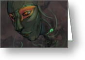 Somber Greeting Cards - Green Lady Greeting Card by Jamie Lindenmeier