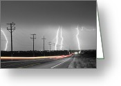 Typhoon Greeting Cards - Green Light Into the Storm Greeting Card by James Bo Insogna