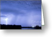 Unusual Lightning Greeting Cards - Green Lightning Bolt Ball and Blue Lightning Sky Greeting Card by James Bo Insogna