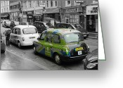 Taxi Cab Greeting Cards - Green London Taxi Greeting Card by Stefan Kuhn