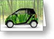 Smart Greeting Cards - Green Mini Car Greeting Card by Oleksiy Maksymenko
