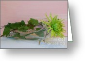 Clear Glass Greeting Cards - Green Mum with the Gapevine Greeting Card by Marsha Heiken