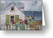Cape Cod Greeting Cards - Green Nantucket Shutters Greeting Card by Joyce Hicks
