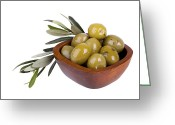 Greek Photo Greeting Cards - Green olives Greeting Card by Jane Rix
