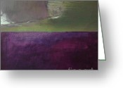 Violet Purple Greeting Cards - Green Over Violet Greeting Card by Iris Lehnhardt