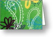 Elm Greeting Cards - Green Paisley Garden Greeting Card by Linda Woods