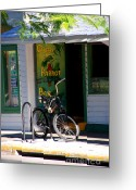Lay Greeting Cards - Green Parrot Bar Key West Greeting Card by Susanne Van Hulst