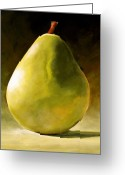 Life Greeting Cards - Green Pear Greeting Card by Toni Grote