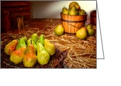 Wicker Greeting Cards - Green Pears in Rustic Basket Greeting Card by Olivier Le Queinec