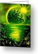 Can Art Greeting Cards - Green Planet 4669 E Greeting Card by Greg Moores