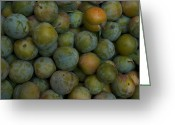 Fresh Picked Fruit Greeting Cards - Green Plums Fill A Bin Outside A Local Greeting Card by Heather Perry