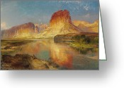 Signed Greeting Cards - Green River of Wyoming Greeting Card by Thomas Moran