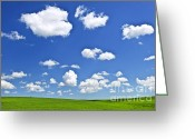 Meadow Greeting Cards - Green rolling hills under blue sky Greeting Card by Elena Elisseeva