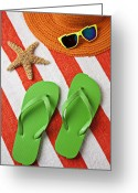 Shoes Greeting Cards - Green Sandals On Beach Towel Greeting Card by Garry Gay